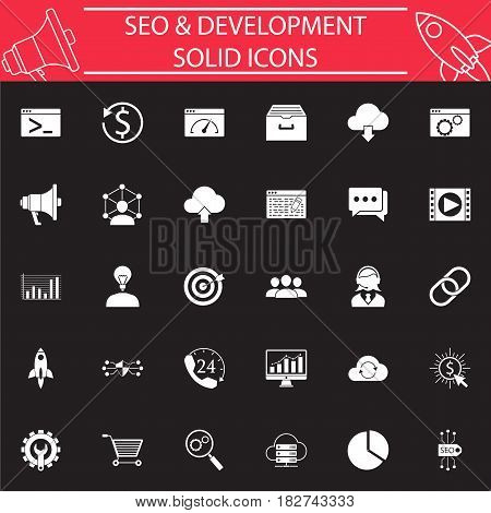 SEO and Development solid pictograms package, marketing symbols collection, vector sketches, logo illustrations, Search Engine Optimization filled icon set isolated on black background, eps 10.