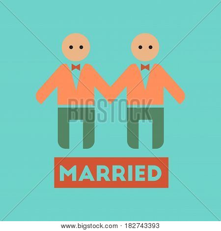 flat icon on stylish background gays newlyweds wedding