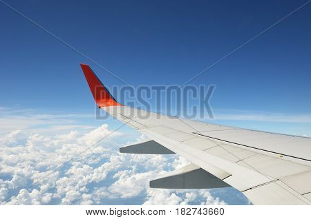 Aircraft wing on the blue sky with cloud