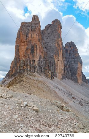 Tre Cime di Lavaredo in beautiful surroundings in the Dolomites in Italy Europe (Drei Zinnen)