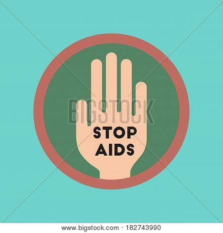 flat icon on stylish background gays Stop AIDS symbol