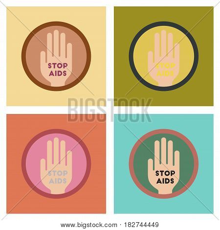 assembly of flat icons gays Stop AIDS symbol