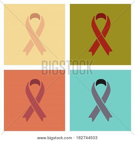 assembly of flat icons gays HIV ribbon