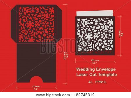Laser cut flower pattern for wedding invitation envelope. Vector template floral panel for paper, card stock, metal, wood, vinyl.Vector isolated.
