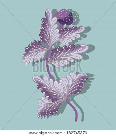 purple plants nature herbal botany, vector illustration