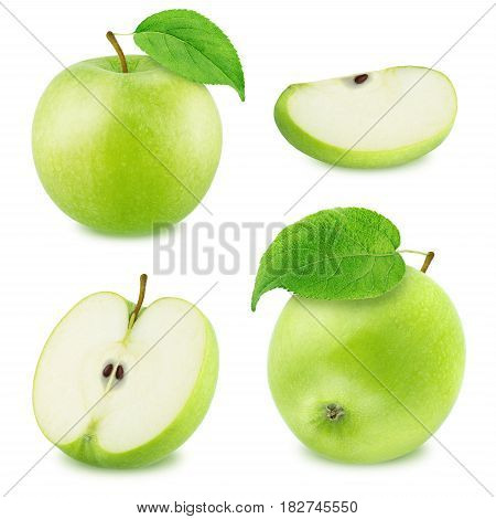Set of Different Green Apples Isolated on White Background in Full Depth of Field with Clipping Path.