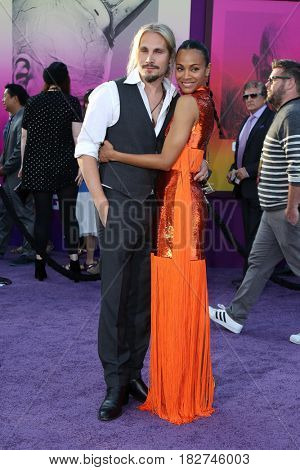 LOS ANGELES - APR 19:  Marco Perego, Zoe Saldana at the