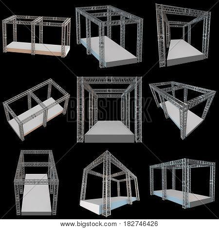 Steel truss girder rooftop construction with outdoor festival stage set. 3d render podium on black.