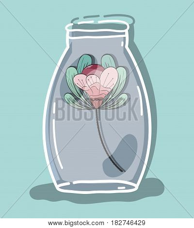 flower inside jar with nature botany, vector illustration