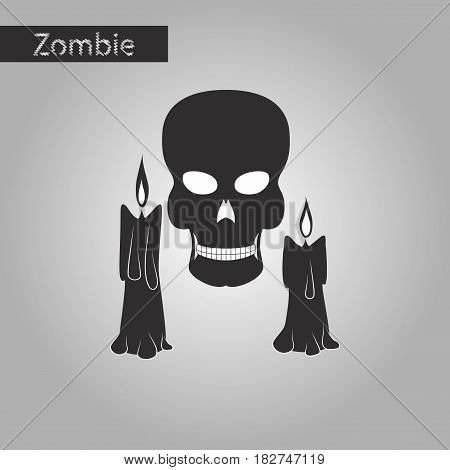black and white style icon of candle skull