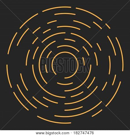 Starburst or Sunburst Abstract Design Element. Vector illustration on black