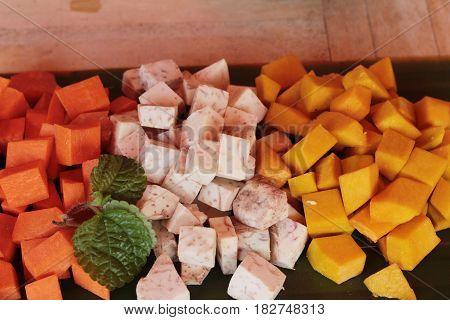 Pumpkin Taro Carrot of cut for cooking