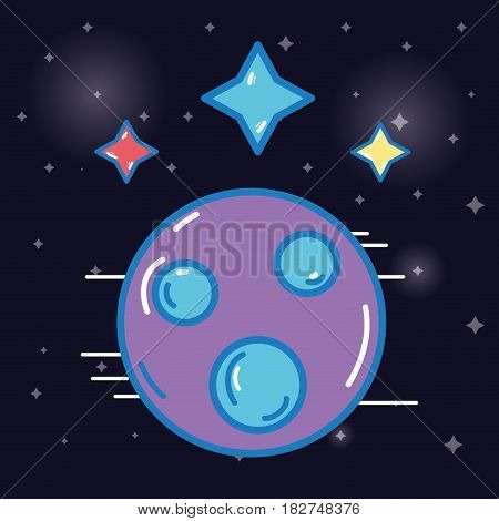 planet with stars cosmos in the galaxy space, vector illustration