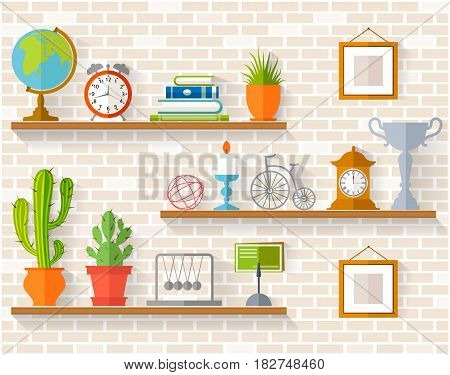 Home decor, houseplants and souvenirs on shelves. Interior accessory on the background of brick wall. Vector illustration in flat style.