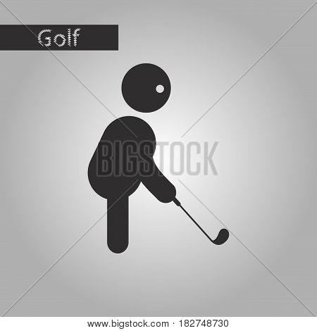 black and white style icon Stick figure golf