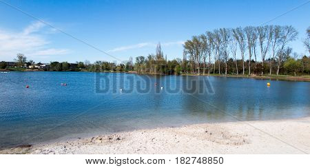 Panoramic View Of The Beach In Summer With Blue Sky And Lagoon