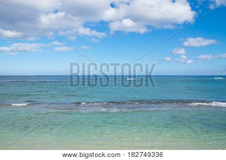 Travel scenic landscape of Bathtub Beach in Laie Oahu Hawaii on the North Shore windward side of the island.