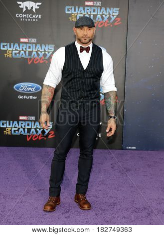 Dave Bautista at the Los Angeles premiere of 'Guardians Of The Galaxy Vol. 2' held at the Dolby Theatre in Hollywood, USA on April 19, 2017.