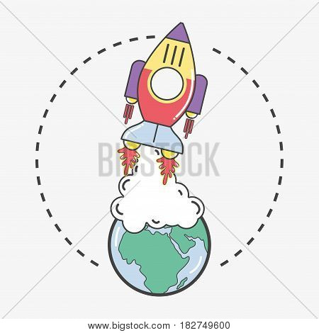 rocket leaving the earth planet to go to space, vector illustration