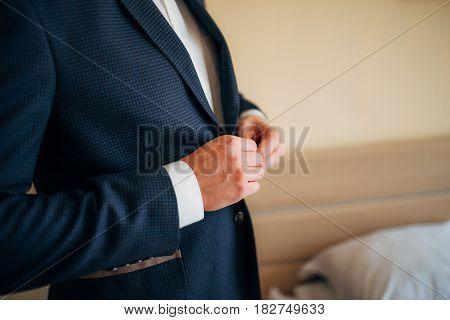 Groom close-up of hands. Wedding in Montenegro