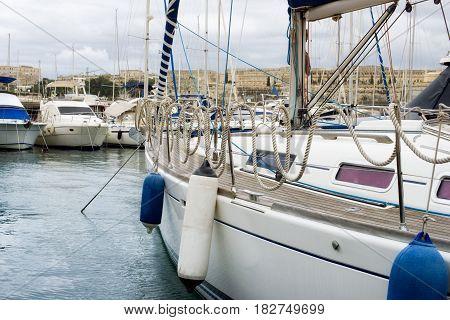 Sail boats moored at Msida Marina in Malta