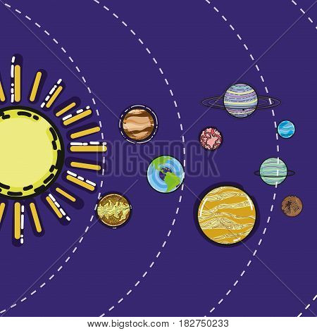 solar system with planets in the galaxy space, vector illustration