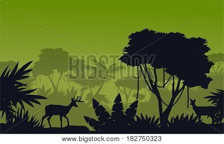 Silhouette of deer on the fores scenery vector illustration