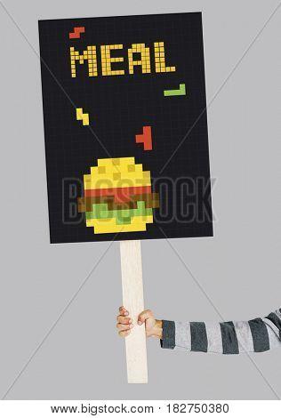 Hand holding banner of 8 bit illustration of tasty burger meal