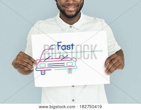 Man holding banner of automotive car rental transportation advertisement