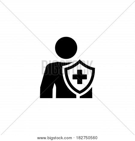 Personal Insurance Icon. Flat Design. Isolated Illustration. Man with a shield and a cross on it.