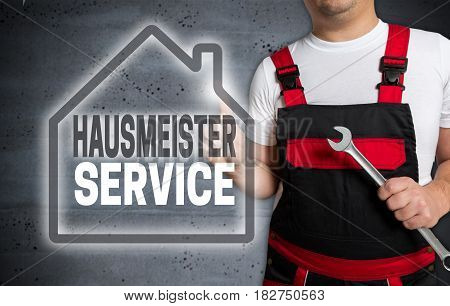 Hausmeisterservice (in German Caretaker Service) With House Touchscreen Is Serviced By Technician