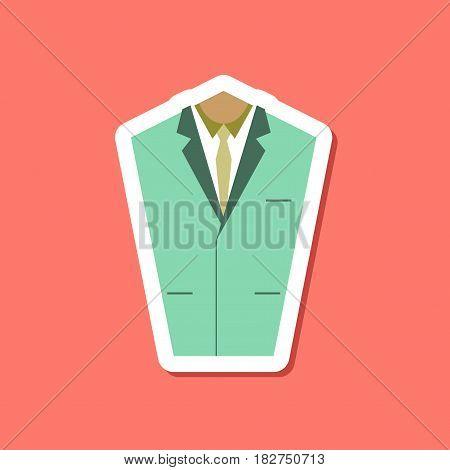 paper sticker on stylish background of Mans jacket