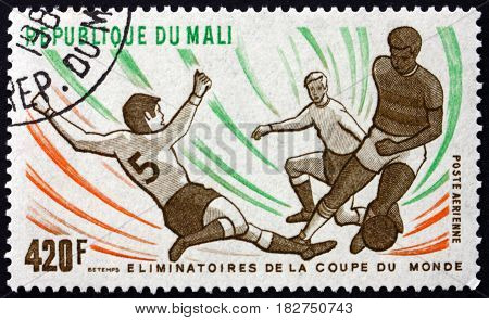 MALI - CIRCA 1982: a stamp printed in Mali shows Various Soccer Players circa 1982
