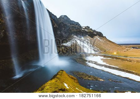 Seljalandsfoss Waterfall In Iceland, Long Exposure