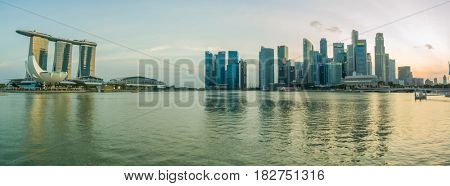 SINGAPORE CITY, SINGAPORE - FEBRUARY 10, 2017: View Of Marina Bay sands at sunset, Travel, Singapore on FEBRUARY 10, 2017