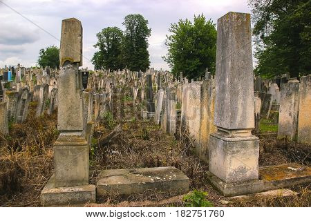 Tombstones in the Old Jewish Cemetery in Chernivtsy