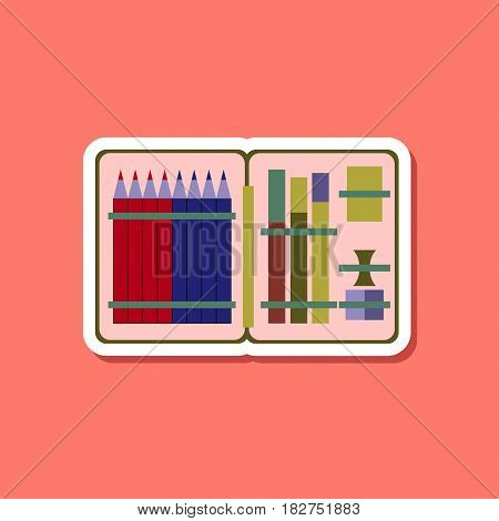 paper sticker on stylish background of pencil box pencil pen