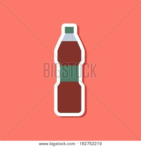 paper sticker on stylish background of soda bottle