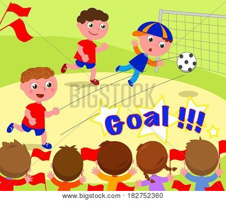 Children playing soccer and kids supporting winners. Vector image.