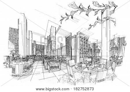 sketch perspective all day & restaurant black and white interior design.