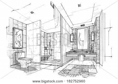 sketch perspective toilet & bathroom black and white interior design.