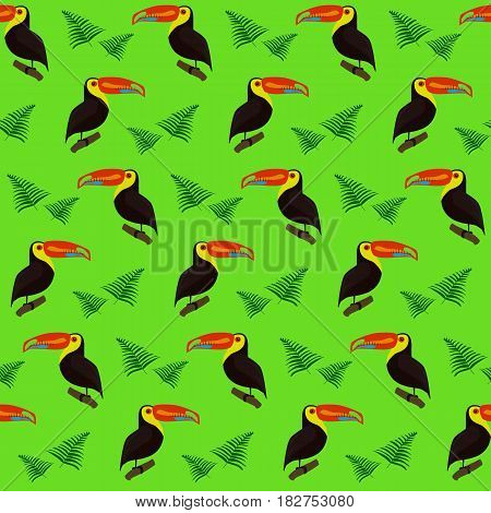 Cute colorful pattern with toucans and tropical palm leaves