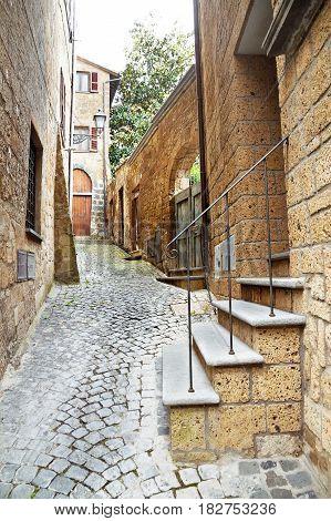 Ancient street of the city Orvieto, Italy, Toscana