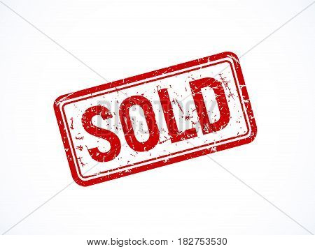 Red textured rotated sold stamp isolated. Vector illustration.