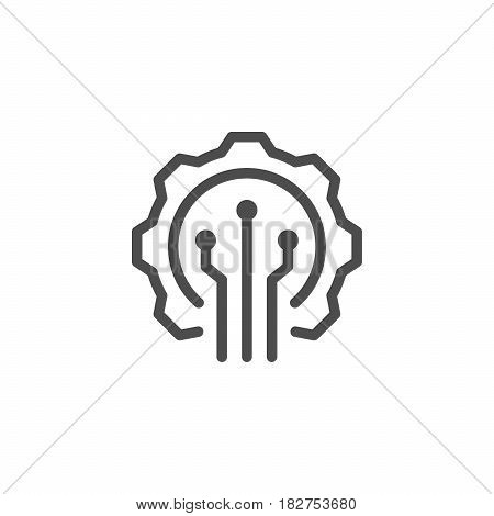 Electronic industry line icon isolated on white. Vector illustration