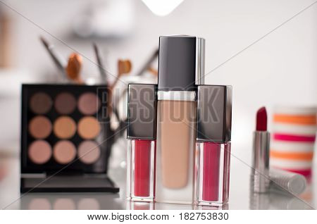 Beauty Concept. Cosmetics For Facial Makeup
