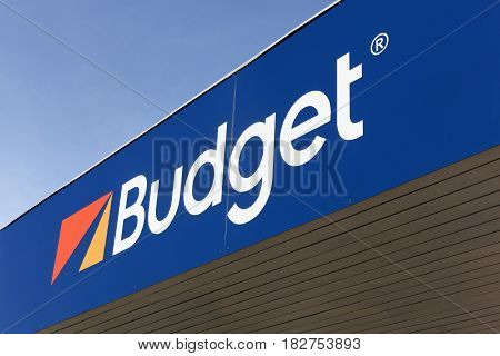 Vejle, Denmark - March 25, 2017: Budget logo on a wall. Budget is an American car rental company that was founded in 1958 in Los Angeles
