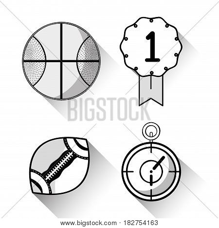 basketball, football and chronometer sports games, vector illustration