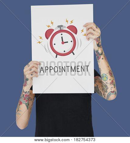 Tattoo woman holding banner of alarm clock icon notification illustration