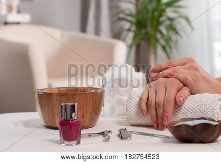 Hand Care In The Spa. Beautiful Manicure, Woman's Hands In The Spa